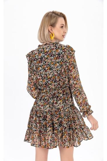 Çiçek Detaylı Şifon Kadın Elbise