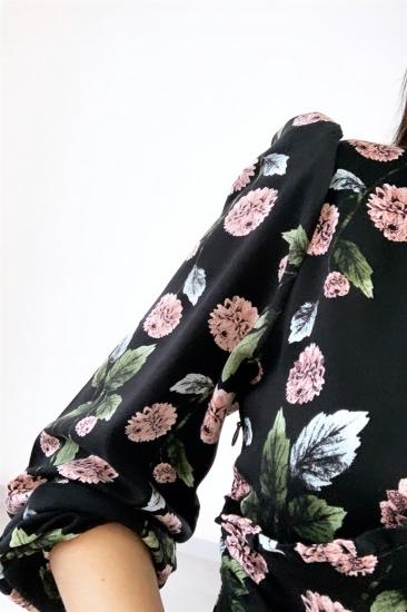 Arkası Kuyruklu Desenli Kumaş Elbise