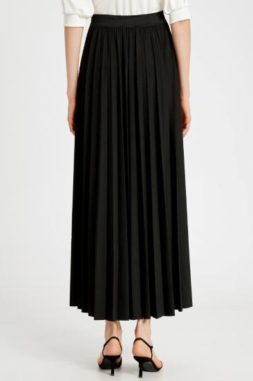 Likralı Pileli Siyah Uzun Etek