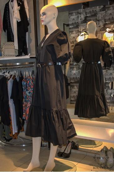 Balon Kollu Siyah Kadın Elbise