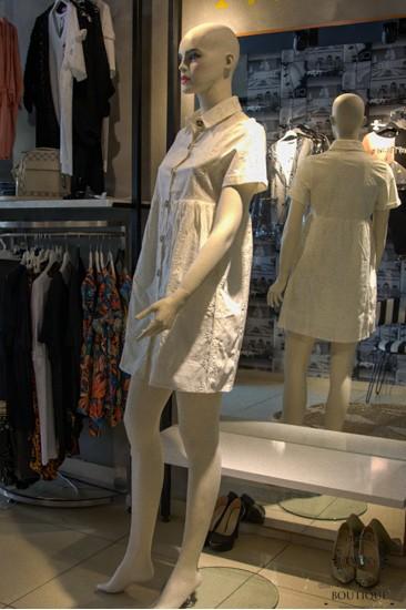 Beyaz Kısa Kollu Kadın Elbise