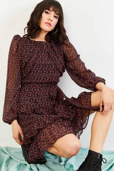 Desenli Bordo Şifon Elbise