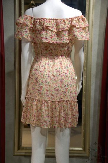 Çiçek Detaylı Şifon Pembe Kadın Elbise