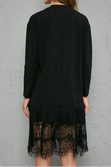 Siyah Uzun Viskon Tüllü Elbise