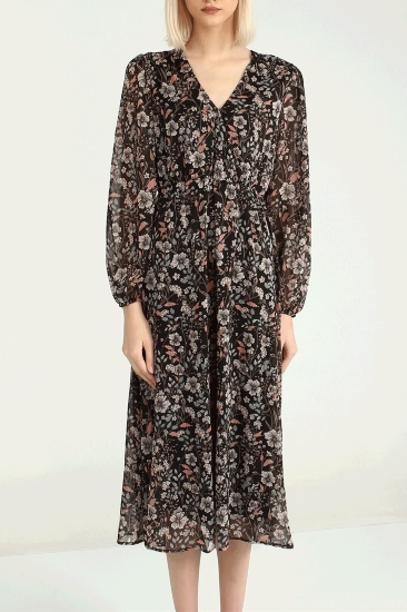 Uzun Desenli Şifon Elbise