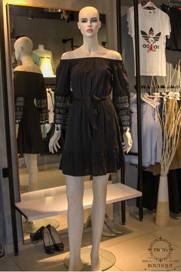 Kol Detaylı Kadın Elbise Siyah