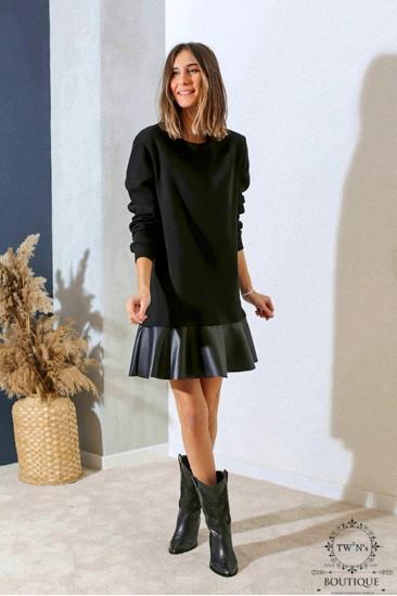 Siyah Deri Garnili Sweat Elbise