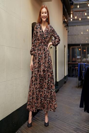 Uzun Boy Desenli Karpuz Kol Şifon Elbise