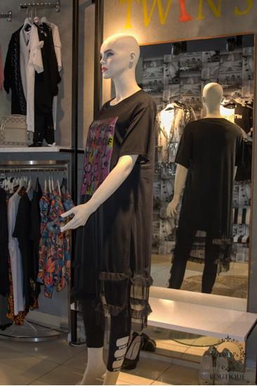 Uzun Tüllü Baskılı Tunik Siyah