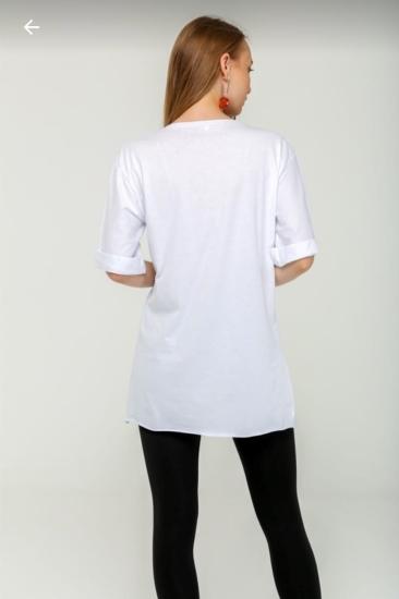Snopy Uzun T-Shirt Beyaz