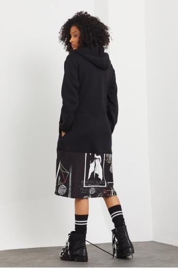 Kapüşonlu Siyah Sweatshirt Elbise