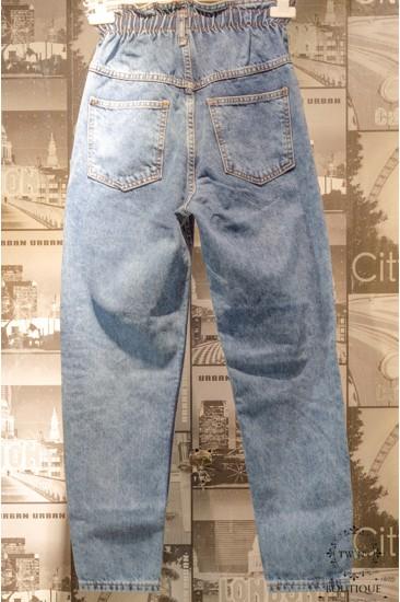 Yüksek Bel Lastikli Kot Pantolon