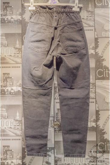 Yüksek Bel Lastikli Siyah Kot Pantolon